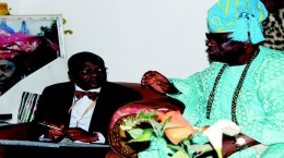 Oba of Lagos, His Royal Highness, Rilwan Babatunde Akiolu 1 (right), with the Vice Chancellor, Lagos State University, Prof. John Obafunwa, at the King's palace during a courtesy visit by the latter.