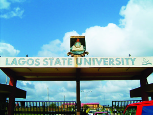 Lagos State University's front gate.