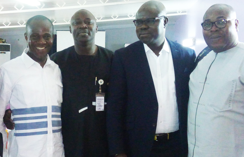 Chief Press Secretary to the Ebonyi State governor, Mr Emma Anya (left), Chief Press Secretary to the Lagos State governor, Mr Habib Haruna, Chief Press Secretary of the Osun State governor, Mr Semiu Okanlawon and Chief Press Secretary to the Ondo State governor, Mr Eni Akinola, at the workshop, yesterday. PHOTO. INTELLECTUAL MAGAZINE