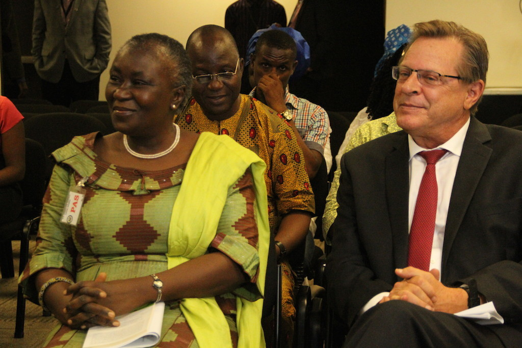 KOWA party's Presidential Candidate, Prof. Remi Sonaiya (left), with the United States Consul General, Ambassador F. John Bray,  at a programme organized by the Consulate to mark this year's International Women's Day, today in Lagos.